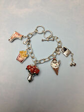 SILVER CHARM BRACELET TOGGLE LOCK  ROSES FRIES ICE CREAM IPOD BOOTS HEARTS THEME