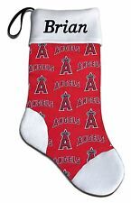 Personalized Baseball Christmas Stocking from MLB LA Los Angeles Angels Fabric