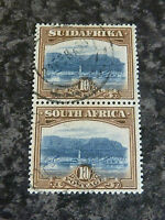 SOUTH AFRICA POSTAGE STAMPS SG39 10/- VERTICAL PAIR VERY FINE-USED