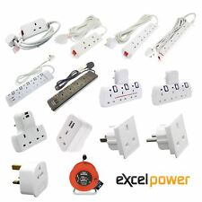 Multi Plug Extension Lead 2 3 4 5 Gang Way UK Mains Wall Socket Adaptors USB