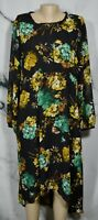 SUZANNE BETRO Black Multicolor Floral Print Dress 3X Long Sheer Sleeves Lined