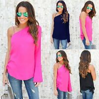 Fashion Women Ladies Summer Long Sleeve Casual Blouse Loose Chiffon Tops T Shirt