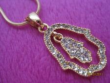 Gold Double Hamsa Hand Evil Eye Protection Judaica Israel Luck Pendant Chaine