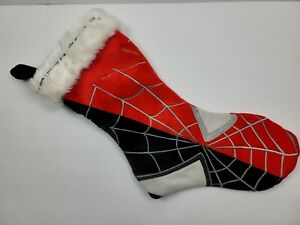 Marvel Spiderman Venom Red/Black/Gray Faux Fur Cuff Christmas Stocking - EUC