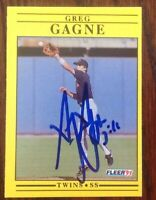 Greg Gagne Hand Signed 1991 Fleer Baseball Card Minnesota Twins