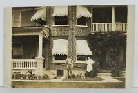 Rppc Man & Woman With Dog Brick Row Home Real Photo Postcard N15