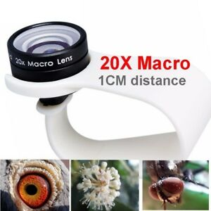 Mobile Phone Macro Lenses 20x Wide-angle Cell for iPone Huawei Xiaomi Samsung