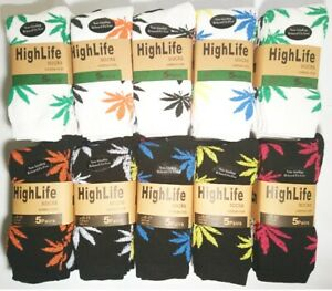 Mens Thermal Socks 5 Pairs Long Sports Black White Leaf Print Weed Cannabis