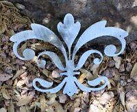 "Ornamental Fleur de Lis Silver Metal Wall Decor 8"" wide x 5 1/2"" tall"