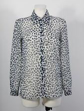 Jaeger women's black and white animal print tulle shirt size 81 cm 32''