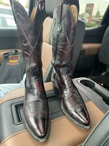 LUCCHESE Leather Cherry Red Sz 9.5A Men's Cowboy Boots Authentic + Case
