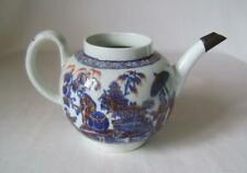 Rare Liverpool Blue & White Printed Teapot with red & gilt details: no lid