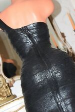 (Ref13)  Dominatrix Spanky Tight  Black  Rubber look   Fitted Mini Dress Size XS