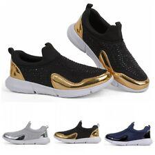 36-42 Women Rhinestone Slip On Walking Running Shoes Hidden Wedge Heel Sneaker L