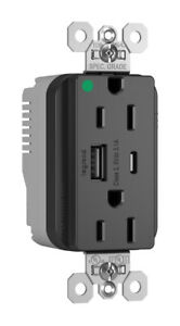Pass & Seymour hospital GRADE TYPE A/C USB CHARGING RECEPTACLE - BROWN
