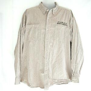 HARLEY DAVIDSON MENS 2XL Tall Tan Striped Button Up Shirt Long Sleeve