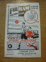 20/08/1960 Fulham v Cardiff City  (Heavy Creased, Folded). No obvious faults, un