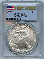 2007 PCGS MS 69 First Strike American Eagle .999 Silver Dollar - 1 oz Troy