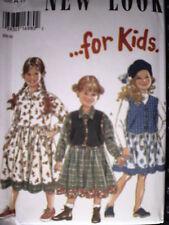 UNCUT Vintage New Look SEWING Pattern 4 - 9 Girls Dress Vest Skirt 6402 OOP FF