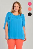 Women Plus Size Top Chiffon Angel Sleeve Ladies Blouse New UK 16 18 20 22 24 26