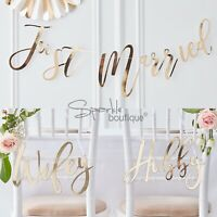 'JUST MARRIED' BUNTING / 'WIFEY' & 'HUBBY' CHAIR SIGNS -Gold Wedding Decorations