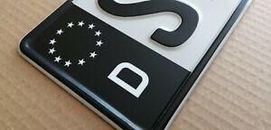 Kennzeichen Aufkleber Schwarz Nummernschild EU Feld Blau D Sticker Set - МАТТ