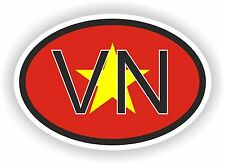 VN Vietnam  COUNTRY CODE OVAL WITH FLAG STICKER bumper decal car bike tablet