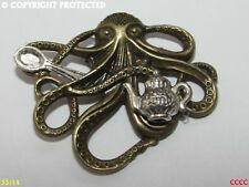 steampunk brooch badge pin silver teapot spoon bronze octopus kraken pirate
