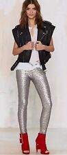 NEW Silver Sequin AMUSE SOCIETY Charlie Legging Pants Holiday Club Bling S NWT