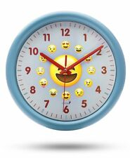 Chital Emoji Wall Clock Adorable Wall Clock for Kids Large 11.5-Inch Wall Blue