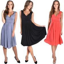 Damen mittellanges Kleid mit V-Ausschnitt Abendkleid + Schwangerschaftsmode Gr.