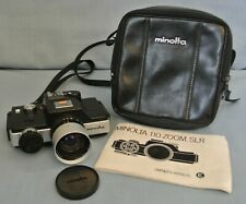 VINTAGE MINOLTA 110 ZOOM SLR CAMERA WITH INSTRUCTIONS & CASE - FULLY WORKING.