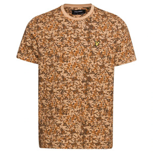 Lyle & Scott Mens Earth Print Crew Neck T-Shirt Tan