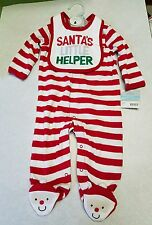 Carter's NWT 6 mo 2 piece outfit Santa's Little Helper bib feeties my 1st stripe