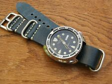 Turquoise/Blue/Green Worn Leather 'Nato-Zulu'-Style Watch Strap Band 22mm