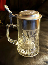 winston Cigarettes Branded Glass Beer Stein Hinged Lid Collectable NIB