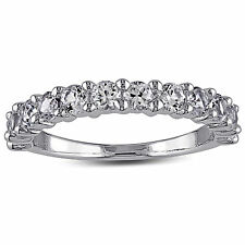 Sterling Silver Round-cut 1 1/10 CT TGW Created White Sapphire Eternity Ring