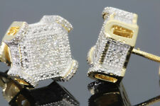 .31 CARAT YELLOW GOLD FINISH MENS WOMENS 10 mm 100% REAL DIAMONDS EARRINGS STUDS