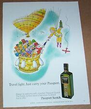 1971 print ad - Passport Scotch Whisky JAFFEE art Hot Air Balloon advertising