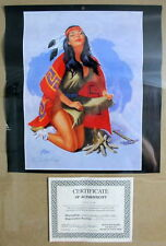 "Jay Scott Pike 'Native Maiden by Fire"" Signed Calendar Page w/ COA MOP Autograph"