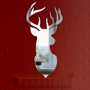Stag Mirror New Rustic Design Silver Acrylic Mantlepiece Decoration Animal Deer