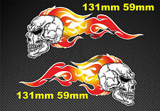 Skull Flames Sticker Decal Motorcycle Car Bobber Hot Rod dc011