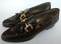 Stuart Weitzman Wine Loafer Womens 8 Flats Buckle Dress Shoes Patent Leather