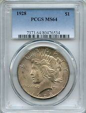 1928 Peace Dollar PCGS MS64 ~ Key Date Silver $1 (80476534)