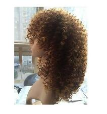 African American Women's Curly Short Afro Wig Synthetic Full  Brown Wigs