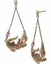 BETSEY JOHNSON REPTILES PINK CRYSTAL ALLIGATOR CHANDELIER DROP EARRINGS~NWT