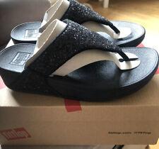 Fitflop Lulu Glitter Toe Thongs Womens Ladies Black Flip Flop Sandals Size 5