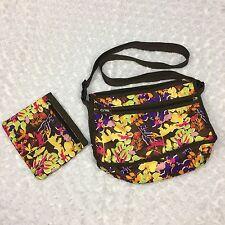 Rabbit Floral Pattern Brown Messenger Cross Body Bag Purse w Zippers Makeup Bag