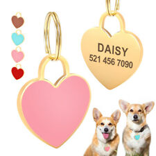 Personalized Pet Dog ID Tags Heart Shape Collar Tags Engraved for Cats Pink Blue