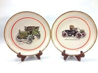 Vintage Car Collectible Plates 1904 Cadillac & 1901 Oldsmobile Hyalyn Porcelain